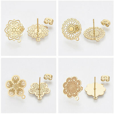 10PCS 304 Stainless Steel Ear Stud Components With Earnuts Golden Earring Post
