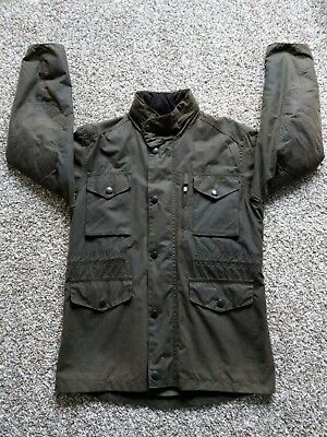 Barbour Sapper Men's Small Olive Jacket Waxed Cotton Coat