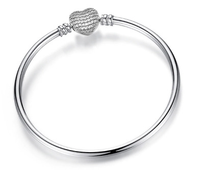BRACELET Silver Plated Silver Pave HEART CLASP Dangle European New