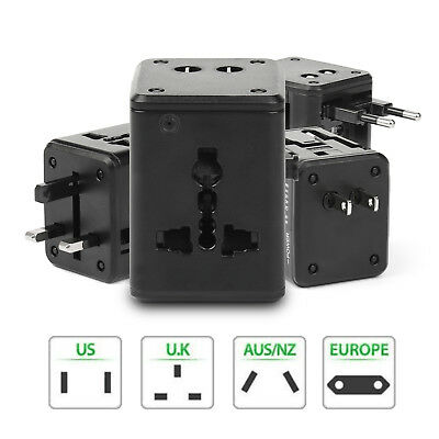 US EU UK AU Universal AC Power Plug World Travel Adaptador Convertidor Con 2 USB