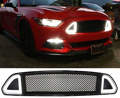 Fit 15-17 Ford Mustang Front Grille Hood Bumper Mesh Grill w/ White LED Lights