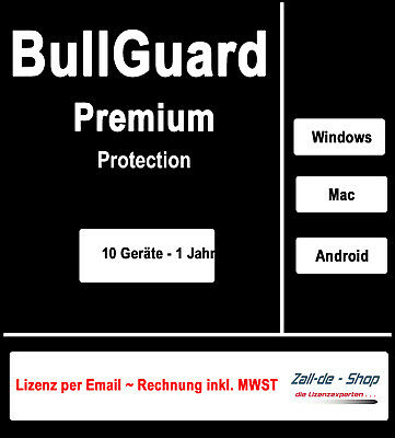 Bullguard Premium Protection 2019 - 10 PC /Geräte  1 Jahr  Win/MAC/Android - KEY