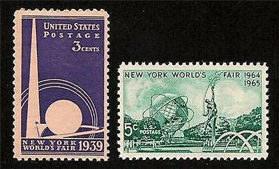 1939 Trylon and Perisphere and 1964 Unisphere New York World's Fair Stamps MINT
