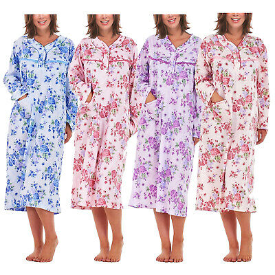 i-Smalls Ladies Nightwear 100% Cotton Long Sleeve Nightdress