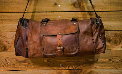 Mens New Large Leather Duffle Bag, Men Overnight Carry-On Travel Luggage Gym