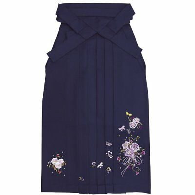 Kyoetsu Hakama embroidery rose bouquet Ladies dark blue 4-sizes Free Shipping