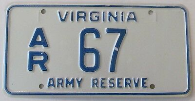 Virginia 1980's MILITARY ARMY RESERVE License Plate # AR 67