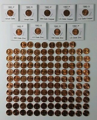 1959-2018 Lincoln Cent Set Complete BU 137 Coin,1960-P&D SM &LG Date, All 7 1982