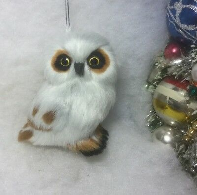 Spotted Owl Christmas Tree Ornament, Faux Fur, White, Woodland