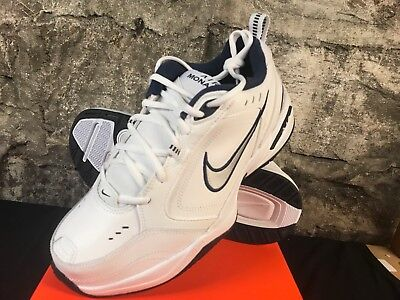 bright n colour unique design latest sale NIKE AIR MONARCH Iv 4 Extra Wide 4E Eeee White/Silver/Navy Blue Trainer  Mens New
