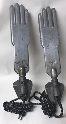 Pair Of Antique Electric Industrial Metal Glove Forms Molds Boldizzoni Steampunk