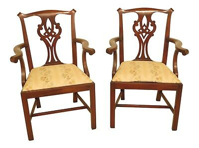 F46134AEC: Pair HENKEL HARRIS Model #101 Mahogany Chippendale Arm Chairs