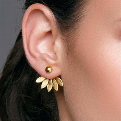 Gold/Silver Women Double Sided Ear Stud Earrings Charm Mother's Day Gift G