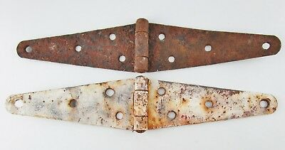 Vintage Pair of Rustic Rusty Barn Door Gate Strap Hinges 12-1/2'' long Primitive