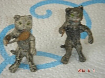 (2) ANTIQUE COLD PAINTED MINIATURE METAL Cat Figurines Playing Badminton