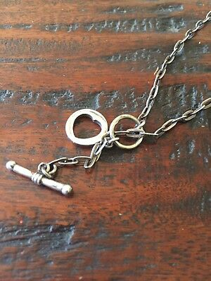 "Sterling Silver 925 T Bar Lariat Link Chain Necklace With Heart Pendant 16"" CUTE"