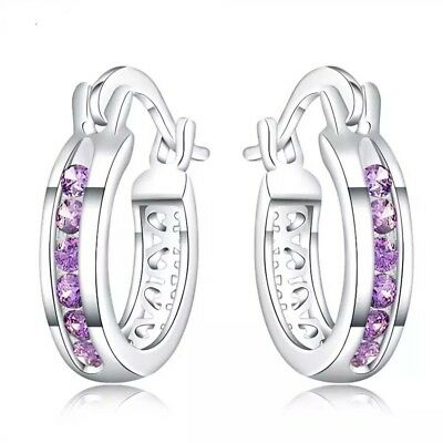 Classy silver plated purple cubic zirconia small hoop earrings