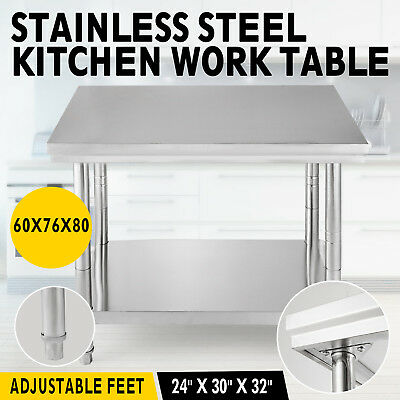 60 x 760CM STAINLESS STEEL #304 NARROW WORK BENCH FOOD PREP TABLE NO SPLASHBACK