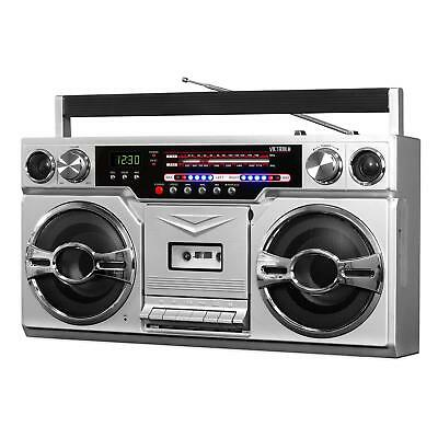 Victrola Retro Style Boombox with Cassette Player, AM/FM Radio & Bluetooth