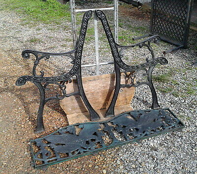 3 Piece GARDEN PARK BENCH Screaming EAGLE Back Rest Cast Iron Vintage