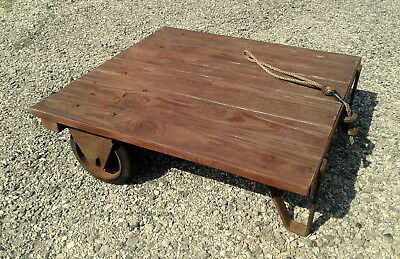 Small Factory Garden Cart Platform Potting Table Rustic Industrial Primitive