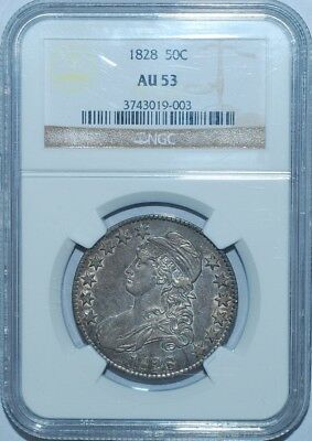 1828 NGC AU53 Square Base 2 Small 8's Large Letters Capped Bust Half Dollar
