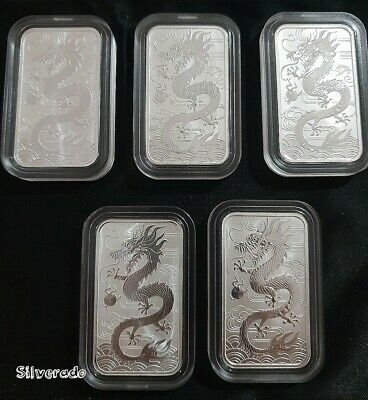 5X 2018 Dragon coin Bullion Perth Mint Rectangle Acrylic Capsule 1oz Silver 9999