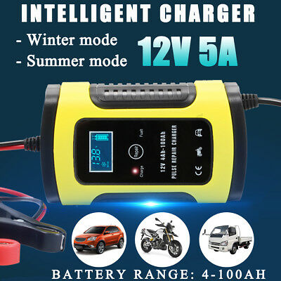 12V 6A Pulse Repair LCD Battery Charger 3-Stage Car Motorcycle Lead Acid Battery