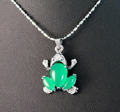 green Jade silver Amulet necklaces