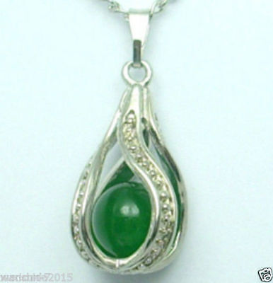 Beautiful natural green Jade silver Pendant Necklace