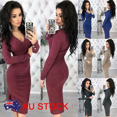 AU Women Winter Knitted Sweater Bodycon Deep V Neck Long Pencil Party Dress