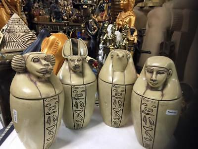 Vintage  Hand Carved Natural  Stone 9'' H Egyptian Set of 4 Canopic Jars - Sons