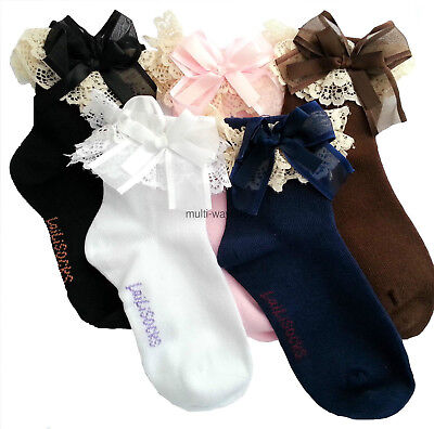 1 Pair  Girls Kids Toddlers White Black Blue Pink Lace Trim Frilly School Socks+