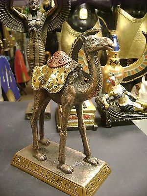 Egyptian Camel  Statue Hand Carved  W/copper Wash Made In Egypt