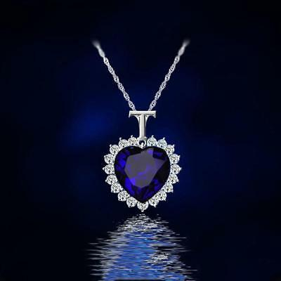 Titanic Heart Of The Ocean Sapphire Blue Crystal Necklace Pendant Jewelry