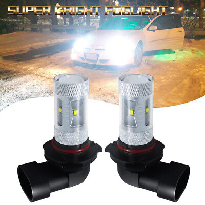 2x 9005 HB3 9145 H10 6000K 30W LED Projector Fog Driving Light Bulb HID White