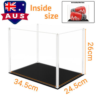 AU Assembly Acrylic Display Box Clear 36cm H Perspex Case Black Base Dustproof