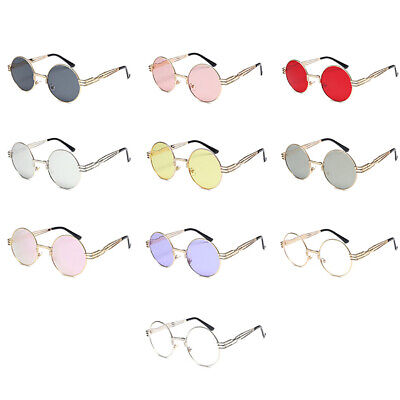 New Retro Men Women Round Metal Frame UV400 Steampunk  Sunglasses US