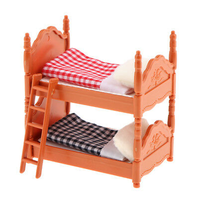 1:12 Dollhouse Miniature Furniture Bunk Bed Model Kids Bedroom Accessory