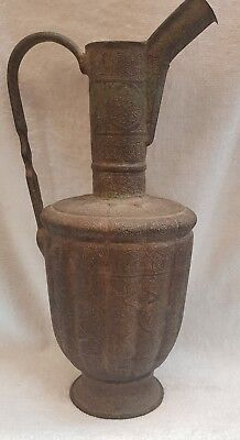 Huge Islamic Antique Beautiful Bronze Old Jug With Wonderful Ancient Carving #J9