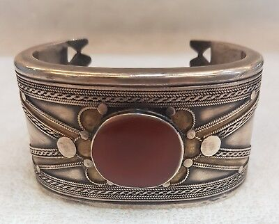 Wonderful Old Silver Medieval Lovely Bangle With Old Yamani Agate Stone #  F90
