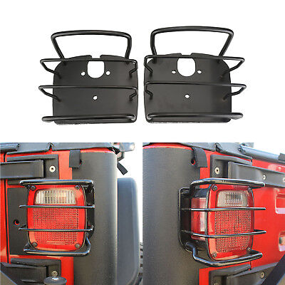 2x Black Euro Taillight Tail Light Guards For 76-01 Jeep Wrangler CJ YJ TJ