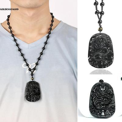 New Natural Hand-Carved Black Obsidian Dragon Necklace fashion