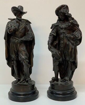 Antique Pair of  Spelter Figures Of Rubens & Rembrandt Artists Historic