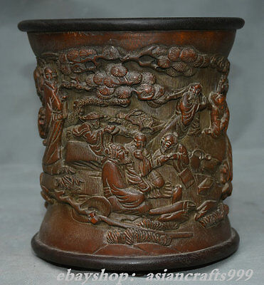 "7.2 ""Old China Bamboo Acht Unsterblichen Old Man Pine Pinsel Pot Bleistift Vase"