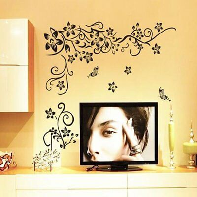 Diagonal Flower Vine Black Butterfly Wall Stickers Bedroom DIY Home Decal Decor