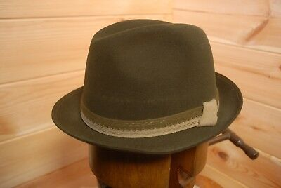 Vtg Huckel Austrian Traditional Felt Fedora Trilby Hat EU 58 Uk 7 1/8