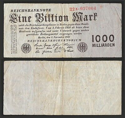 GERMANY 1 BILLION (Trillion) Mark 1923, Ro 126b / P129