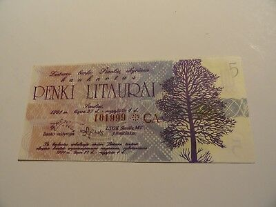 Lithuania OLYMPIC Banknote. 5 Litaurai .Javelin Thrower. 1991 UNC.