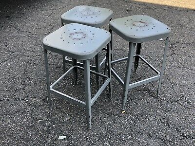 "1 Vintage LYON Metal Industrial 24"" Stool Gray Local Pickup Only"